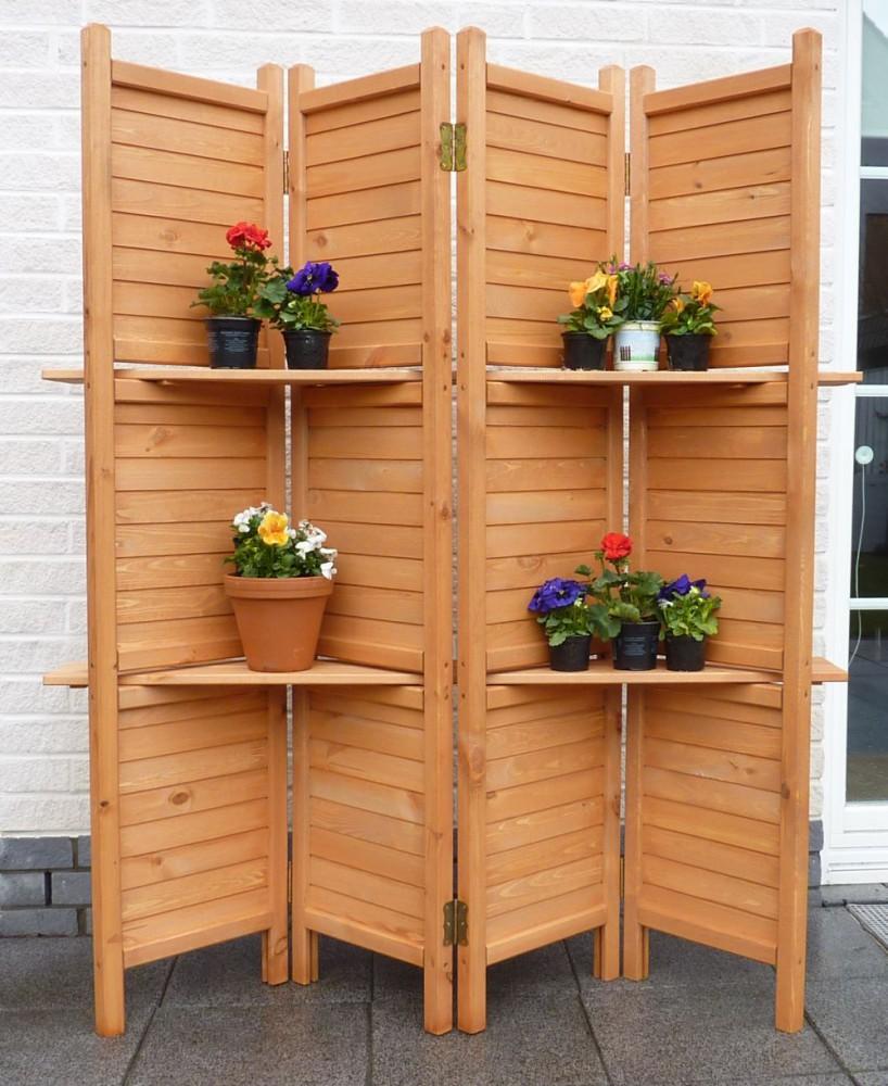 Holz Paravent mit Regalen 4 teilig variabel aufstellbarer Sichtschutz