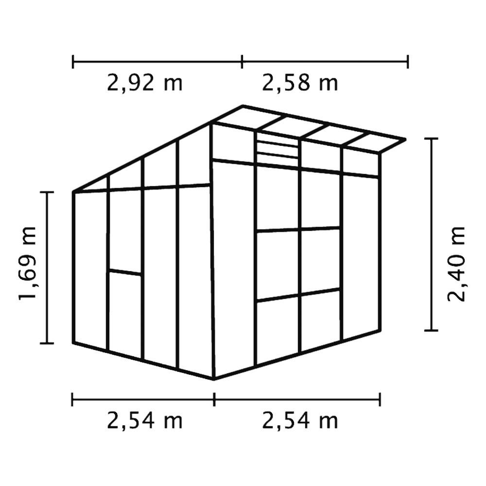 Trendig Freya 7600 Alu-Gewächshaus ESG 3 mm Treibhaus Anthrazit Gartenhaus  ML96
