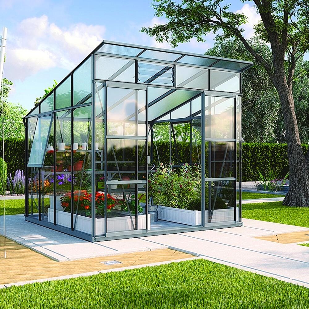 Großartig Freya 7600 Alu-Gewächshaus ESG 3 mm Treibhaus Anthrazit Gartenhaus  BY74