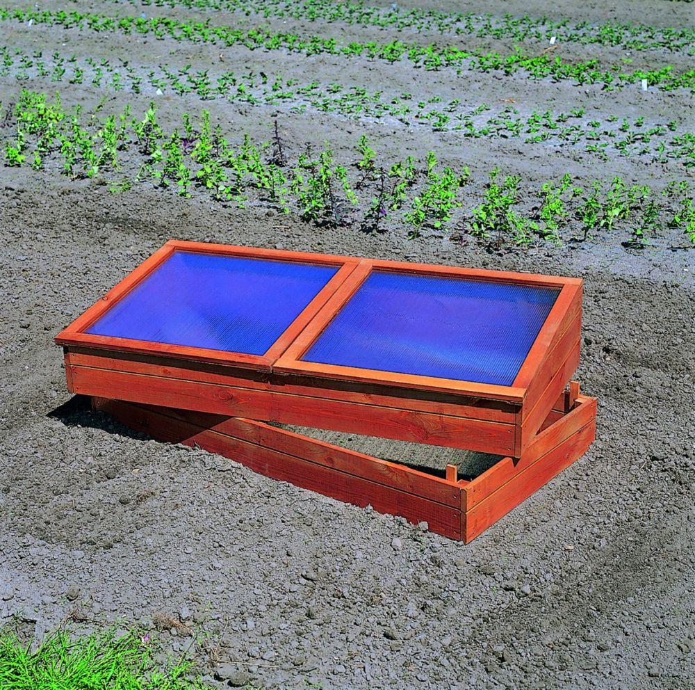 Doppel-Frühbeet Anzuchtbeet Holz imprägniert inkl. Unterkasten Garten
