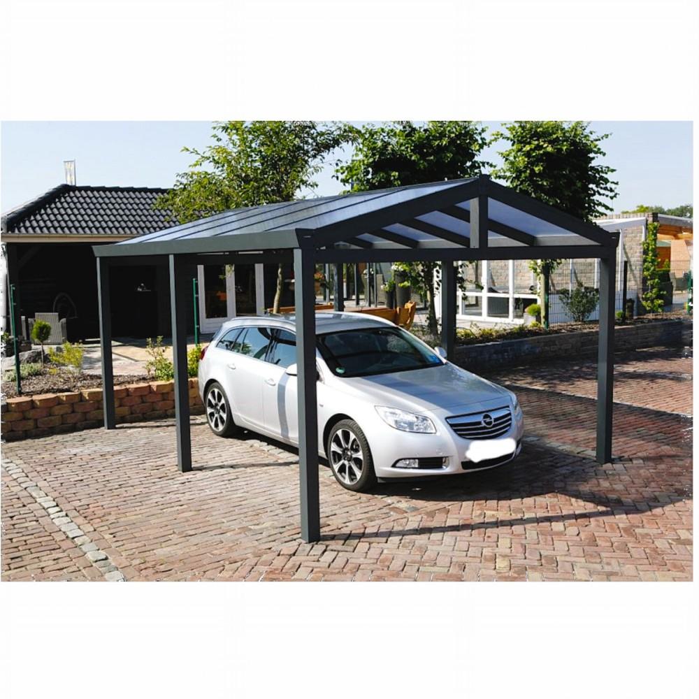Aluminium Carport Satteldach 368 x 500 cm Überdachung Auto Stellplatz