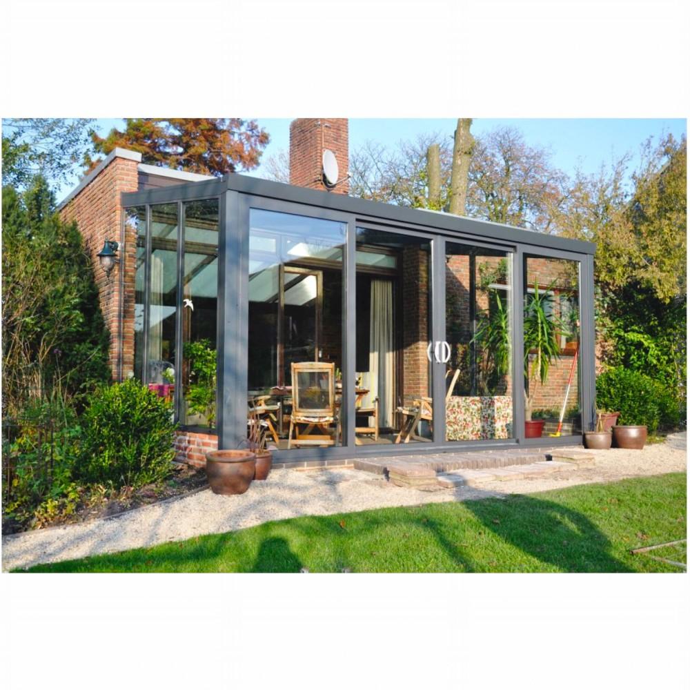 aluminium gartenzimmer glasdach mit festen seitenw nde. Black Bedroom Furniture Sets. Home Design Ideas